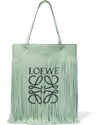 Loewe - + Paula's Ibiza Fringed Printed Leather Tote - Lyst