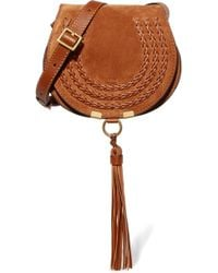 Chloé - Marcie Mini Whipstitched Suede And Textured-leather Shoulder Bag - Lyst