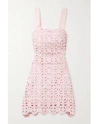 Miguelina Kira Crocheted Cotton Mini Dress - Pink