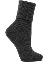 Johnstons - Ribbed Cashmere Socks - Lyst