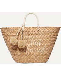 Kayu St Tropez Pompom-embellished Embroidered Woven Straw Tote - Natural
