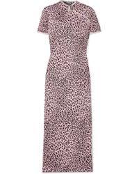 Alessandra Rich - Crystal-embellished Leopard-print Silk-jacquard Midi Dress - Lyst