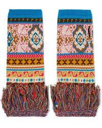 Etro Fringed Intarsia Wool-blend Fingerless Gloves - Blue