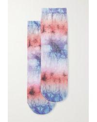 Maria La Rosa Socken Aus Einer Seidenmischung Mit Batikmuster - Blau