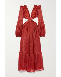 PATBO Embellished Cutout Stretch Jersey-trimmed Crochet-knit Maxi Dress - Red