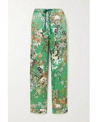 Meng Floral-print Silk-satin Pyjama Trousers - Green