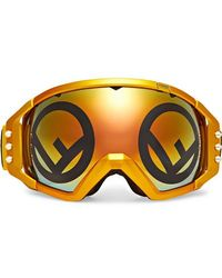 Fendi - Golden Roma Mirrored Metallic Ski Goggles - Lyst