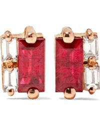Suzanne Kalan - 18-karat Rose Gold, Ruby And Diamond Earrings - Lyst