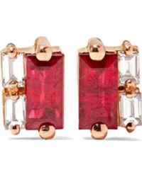 Suzanne Kalan | 18-karat Rose Gold, Ruby And Diamond Earrings | Lyst