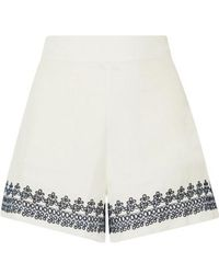 J.Crew Embroidered Linen Shorts - White