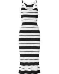 Jason Wu - Striped Ribbed Silk-blend Midi Dress - Lyst