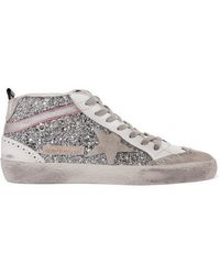 Golden Goose Deluxe Brand Mid Star Glittered Distressed Leather And Suede Sneakers - Metallic