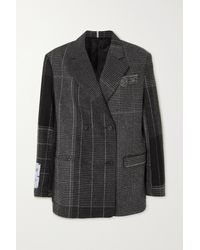 McQ In Dust Prince Of Wales Checked Wool Blazer - Grey