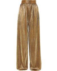 SemSem Plissé-lamé Wide-leg Trousers - Metallic