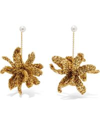 Lucy Folk - Spritz Gold-plated, Lurex And Pearl Earrings Gold One Size - Lyst