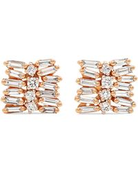Suzanne Kalan - 18-karat Rose And White Gold Diamond Earrings - Lyst