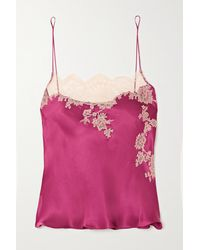 Carine Gilson Chantilly Lace-trimmed Silk-satin Camisole - Purple