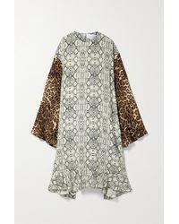 Les Rêveries Printed Silk Crepe De Chine Midi Dress - Multicolour