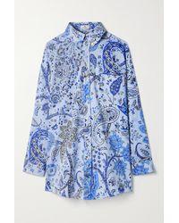 Etro Oversized Printed Cotton-blend Poplin Shirt - Blue