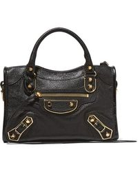 Balenciaga Classic Metallic Edge City Mini Textured-leather Shoulder Bag - Black