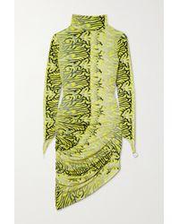 Maisie Wilen Orbit City Ruched Printed Stretch-jersey Turtleneck Mini Dress - Yellow