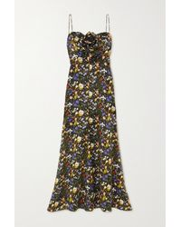 The Vampire's Wife The Paradise Road Embellished Floral-print Silk-satin Gown - Black