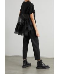 Alexander McQueen Cotton-jersey And Ruffled Tulle T-shirt - Black