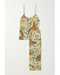 Desmond & Dempsey Pyjama En Voile De Coton Imprimé - Vert