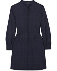 A.P.C. - Audrey Checked Crepe Mini Dress - Lyst