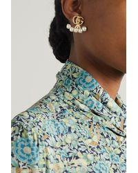 Gucci Goldfarbene Ohrringe Mit Kunstperlen - Weiß