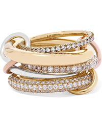 Spinelli Kilcollin - Set Of Five 18-karat Yellow And Rose Gold And Sterling Silver Diamond Rings Gold 7 1/2 - Lyst