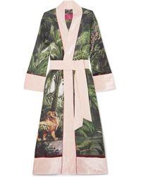 F.R.S For Restless Sleepers - Nomos Velvet-trimmed Printed Silk-twill Robe - Lyst