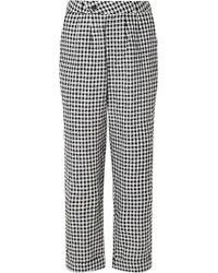 Reformation Tanner Cropped Gingham Linen Slim-leg Pants - Black