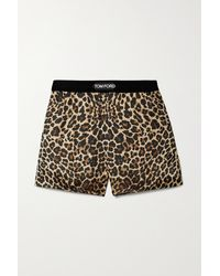 Tom Ford Velvet-trimmed Leopard-print Silk-blend Satin Shorts - Multicolour