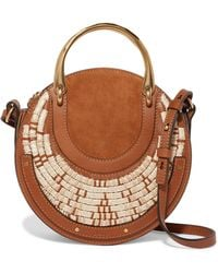 Chloé - Pixie Suede, Leather And Raffia Shoulder Bag - Lyst