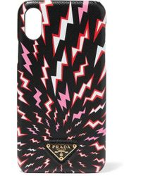 Prada Printed Textured-leather Iphone Xr Case - Black