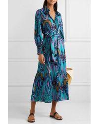Figue Indiana Tasselled Printed Cotton Midi Dress - Blue