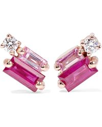 Suzanne Kalan - 18-karat Rose Gold, Diamond And Sapphire Earrings Rose Gold One Size - Lyst