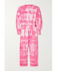 LoveShackFancy Paca Cropped Tie-dyed Cotton-twill Jumpsuit - Pink