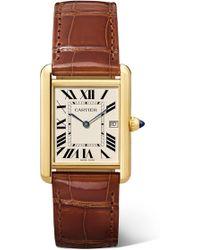 Cartier - Tank Louis 25.5mm Large 18-karat Gold And Alligator Watch - Lyst
