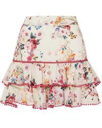 Charo Ruiz Fera Ruffled Crocheted Lace And Floral-print Voile Mini Skirt - White