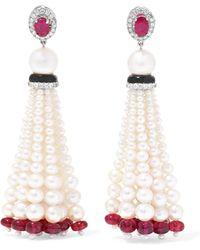 Amrapali - 18-karat White Gold Multi-stone Earrings - Lyst