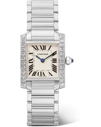 Cartier - Tank Française 25.2mm Small Stainless Steel And Diamond Watch - Lyst