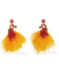 Ranjana Khan - Passerine Feather And Crystal Clip Earrings - Lyst