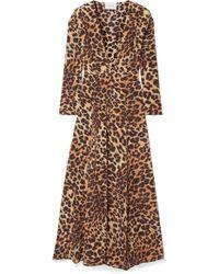 We Are Leone - Leopard-print Silk Crepe De Chine Robe - Lyst