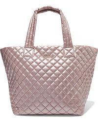 MZ Wallace - Metro Medium Metallic Quilted Shell Tote Metallic One Size - Lyst