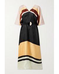 Eres Zanzibar Striped Silk-twill Kaftan - Black