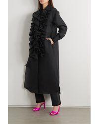 Christopher John Rogers Ruffled Silk-organza Midi Shirt Dress - Black