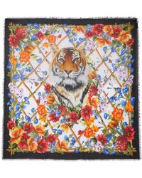 Dolce & Gabbana - Frayed Printed Modal And Cashmere-blend Scarf - Lyst