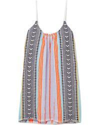 lemlem - Sofia Embroidered Striped Cotton-blend Gauze Mini Dress - Lyst